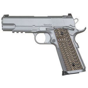 "Dan Wesson 1911 Specialist Commander 9mm Luger Semi Auto Pistol 4.25"" Barrel 9 Rounds Fixed Night Sights G-10 Grips Stainless Steel Bead Blasted Finish"