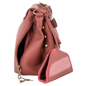 Bulldog Cases & Vaults Convertible Hobo/Crossbody Style Concealed Carry Purse PU Leather Rust