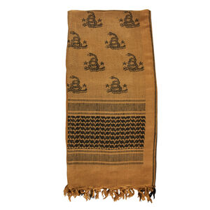 """Red Rock Gear Tactical Shemagh Don't Tread On Me 42""""x42"""" 100% Cotton Coyote and Black"""
