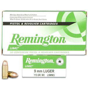 Remington UMC 9mm Luger Ammunition 50 Rounds FMJ 115 Grains L9MM3