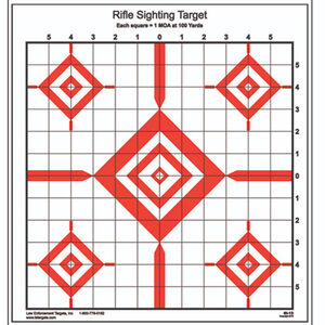 "Action Target Advanced Rifle Sighting Target 14""x15"" Black Red 100 Pack"