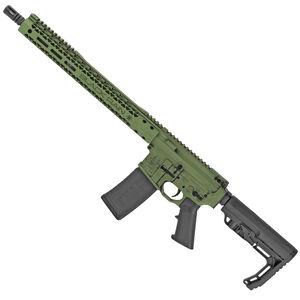 "Black Rain Ordnance Billet 5.56 NATO AR-15 Semi Auto Rifle 16"" Barrel 30 Rounds Free Float Hybrid Hand Guard Collapsible Stock Bazooka Green Battleworn Cerakote Finish"