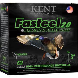 "Kent Cartridge Fasteel 2.0 Waterfowl 12 Gauge Ammunition 250 Rounds 3"" Shell #2 Zinc-Plated Steel Shot 1-3/8oz 1300fps"