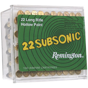Remington 22 Subsonic .22LR Ammunition 38 Grain Lead HP Bullet 1050 fps
