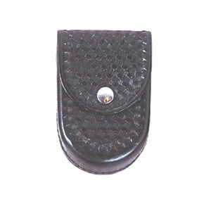Stallion Leather Covered Standard Handcuff Holder Fits Chained and Hinged Cuffs Nickel Snap Leather Basket Weave Black