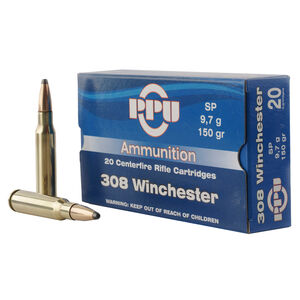 Prvi Partizan PPU Standard .308 Win Ammunition 20 Rounds 150 Grain SP 2820fps