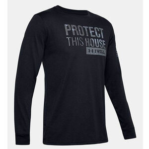 Under Armour Men's Freedom Protect This House Long Sleeve T-Shirt Size Large Cotton Blend Black
