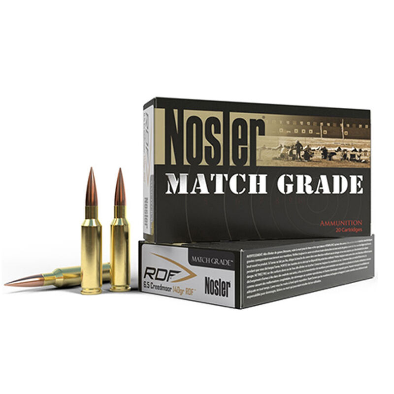 Nosler Match Grade 6.5mm Creedmoor Ammunition 20 Rounds 140 Grains RDF HPBT Bullet 2650fps