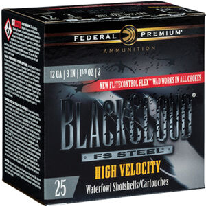 "Federal Black Cloud High Velocity 12 Gauge Ammunition 250 Rounds 3"" #4 FS Steel Shot 1-1/8 Ounce Flitecontrol Flex Wad 1635fps"