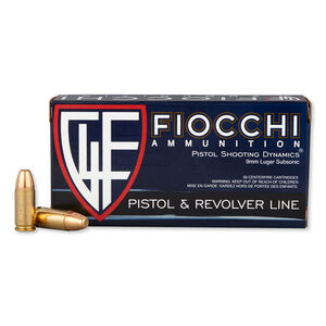 FIOCCHI 9mm Luger Ammunition 50 Rounds Subsonic FMJ 158 Grains 9APE