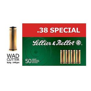 Sellier & Bellot .38 Special Ammunition 1200 Rounds LWC 148 Grains SB38B