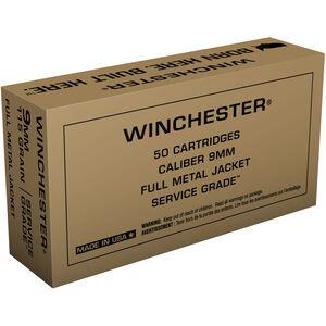 Winchester 9mm Luger Ammunition 50 Rounds Service Grade FMJ 115 Grains