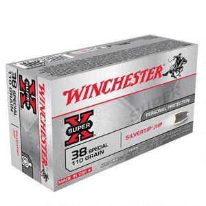 Winchester Super X .38 Special Ammunition 50 Rounds, Silvertip HP, 110 Grains