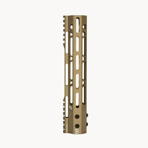 "JE Machine 10"" MLOK Free Float Rail with Top Rail Relief Tan"