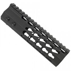 "Guntec AR-15 7"" Ultra Slimline Octagonal 5 Sided KeyMod Free Floating Handguard with Monolithic Top Rail 6.1 oz Aluminum Black"