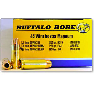 Buffalo Bore .45 Winchester Magnum Ammunition 20 Rounds JHP 230 Grain 45WM230JHP/20