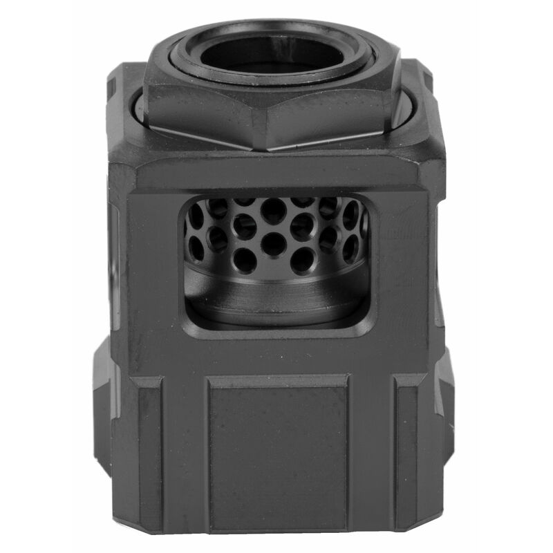 Chaos Gear Supply Official Qube Compensator 9mm Luger 1/2x28 Thread Pitch 17-4H900 Stainless Steel Black/Black Finish