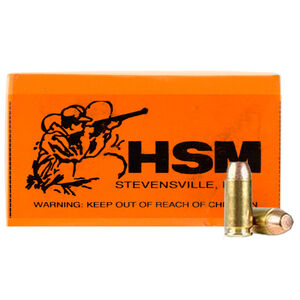 HSM 9mm 50 Rounds Training Ammunition 147 Grain Plated Flat Nose Lead Bullet 965fps