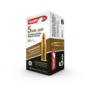 Aguila Varmint 5mm RRM Ammunition 50 Rounds 30 Grain JHP 2300fps