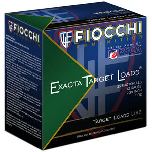 "Fiocchi Exacta Target Line Interceptor Spreader 12 Gauge Ammunition 2-3/4"" #8 Shot 1oz Lead 1300fps"