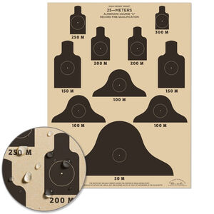 """Rite in the Rain All-Weather Targets 17"""" x 22"""" M16A1 Qualification Course 10 Per Pack Tan"""