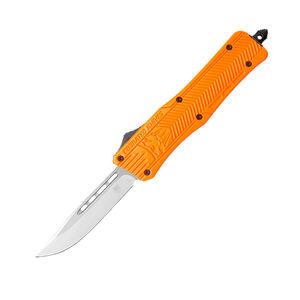 "Cobra Tec Knives CTK-1 Small OTF Auto Knife 2.75"" 440C Stainless Steel Drop Point Not Serrated Blade Orange Zinc-Aluminum Alloy Grip Pocket Clip"