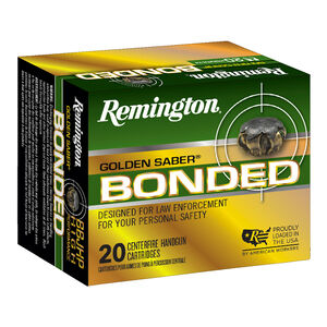 Remington Golden Saber Bonded .40 S&W Ammunition 165 Grain Bonded Brass Jacketed Hollow Point 1150fps