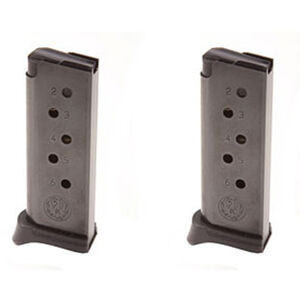 Ruger LCP 6 Round Magazine .380 ACP Extended Polymer Base Plate Steel Blued Finish 2 Pack