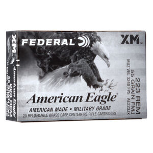 Federal American Eagle .223 Rem Ammunition 55 Grain FMJBT 3240 fps 20 Rounds