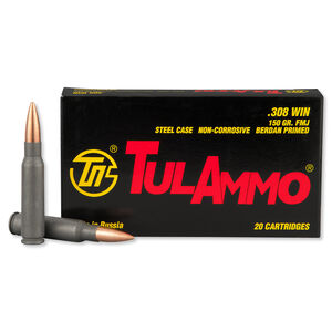 TulAmmo .308 Winchester Ammunition 20 Rounds FMJ 150 Grains Steel Case TA308150