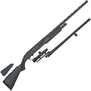 "Mossberg 500 Field and Slug Combo 12 Gauge Pump Action Shotgun 28"" and 24"" Barrels 3"" Chamber 5 Rounds with 2.5x20 Scope Synthetic Stock Matte Blued"