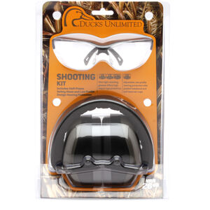 Pyramex Safety Products DU Combo Kit Ducks Unlimited Ear and Eye Protection Combo Pack Safety Glasses with Clear Lenses and Black Frames Ear Muff with Foldaway Headband 26dB NRR Gray DUCOMBO5710