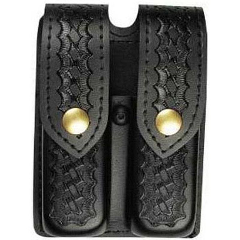 Safariland Model 77 Double Handgun Magazine Pouch GLOCK 17/22/34/35 Basket Weave Finish Brass Snap Closure Black 77-83-4B