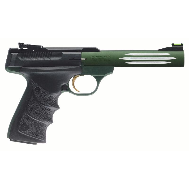 "Browning Buck Mark Lite Green Semi Auto Pistol .22 LR 5.5"" Barrel 10 Rounds Adjustable Rear Sight Fiber Optic Front Sight URX Grips Black/Green 051516490"