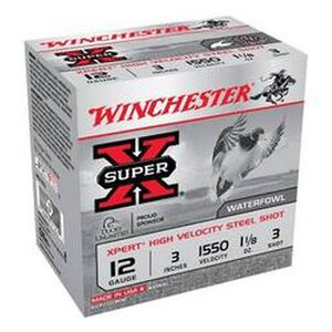 "Winchester Xpert Hi-Velocity Steel 12 Gauge Ammunition 25 Rounds 3"" #3 Steel Shot 1-1/8 Ounce 1550fps"