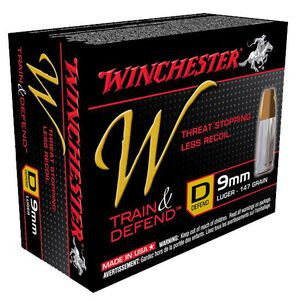 Ammo 9mm Luger Winchester W Train & Defend 147 Grain Jacketed Hollow Point Bullet Low Recoil 20 Round Box 950 fps W9MMD