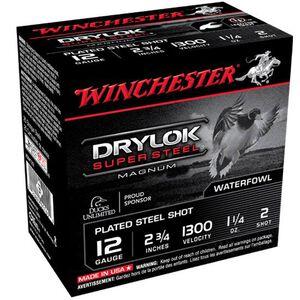 "Winchester Super-X Drylok 12 Ga 2.75"" #2 Steel 250 Rounds"