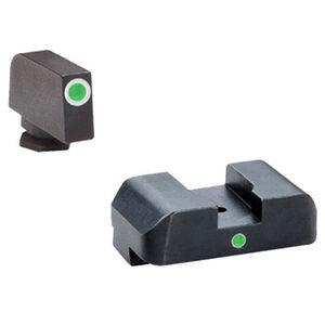 AmeriGlo Tritium I-Dot Sight Set For GLOCK 42/43 Green Tritium Front With White Outline Green Tritium Rear With Square Notch Steel Matte Black GL-105