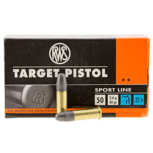 RWS Sport Line Target Pistol .22 Long Rifle Ammunition 50 Rounds 40 Grain Lead Round Nose 935fps