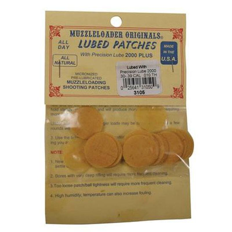"""Muzzle Loader Originals Shooting Patches 50 Through 59 Caliber .010"""" Thickness Pre-Lubricated with Precision Lube 2000 Cotton Package of 100"""