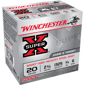 "Winchester Super X Expert 20 Gauge Shot Shells 25 Rounds 2 3/4""  #6 Steel 3/4 Ounce WE20GT6"