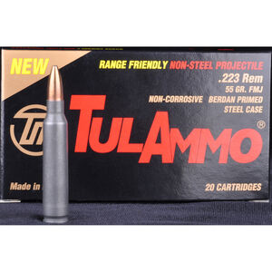 TulAmmo Range Friendly .223 Remington Ammunition 20 Rounds 55 Grain Full Metal Jacket Brass Jacket Bullet Steel Cased 2,953fps