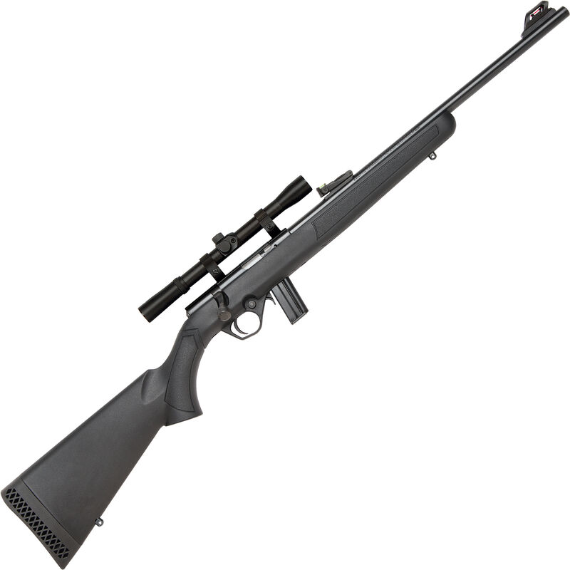 """Mossberg 802 Plinkster Combo Bolt Action Rimfire Rifle .22 LR 18"""" Barrel 10 Rounds FO Sights with 4x Scope Synthetic Stock Black"""