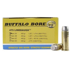Buffalo Bore .475 Linebaugh Ammunition 20 Rounds Hard Cast LBT LFN 420 Grain 2A/20