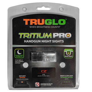 TRUGLO Tritium Pro Night Sights with Orange Focus Ring for CZ P-10