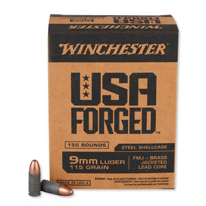 Winchester USA Forged 9mm Luger Ammunition 150 Rounds Steel Case FMJ 115 Grains Projectile 1190 fps