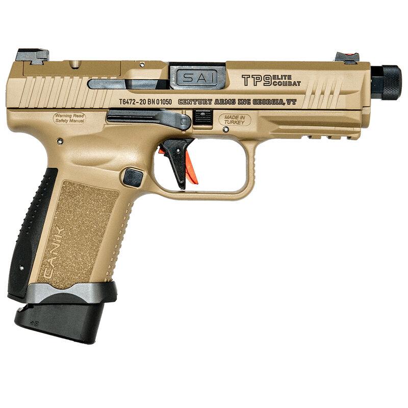 "Canik TP9 Elite Combat 9mm Luger Semi Auto Pistol 4.73"" Threaded Barrel 15/18 Rounds Salient Sight Set Cerakote Over Nitride Finish Flat Dark Earth"