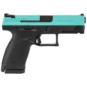 "CZ P-10 C 9mm Semi Auto Pistol 4.02"" Barrel 15 Rounds 3 Dot Sights Black Polymer Frame Robins Egg Blue Slide Finish"