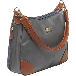 """Bulldog Cases Hobo Style Purse 13""""x10.5""""x3.5"""" Leather Gray with Tan Trim BDP018"""
