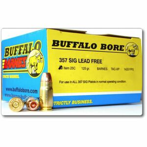 Buffalo Bore Low Flash Heavy .357 Sig Ammunition 20 Rounds Barnes TAC-XP 125 Grains 25C/20